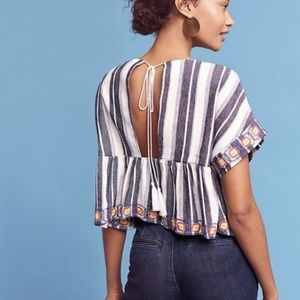Maeve Vieques Midi Top Linen and Embroidered